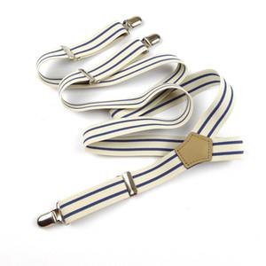 Mens White Blue Stripes Braces 4 metal Clips Elastic Suspenders Trousers Belt