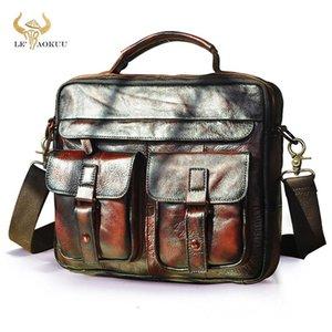 """Le'aokuu Homens Genuíno de Couro Moda Pasta De Vinho Negócios Maletin 13 """"Design Case Laptop Design Attache Messenger Bag Portfolio B207"""