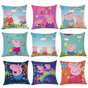 Cartoon Creative Pink Pig Cotton Hemp Pillow Case Car Sofa Cushion