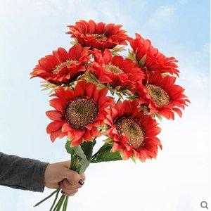7 قطع فرع عباد الشمس جيربيرا الحرير الاصطناعي زهرة عيد الشكر حفل زفاف الزهور الديكور المنزل عيد الميلاد