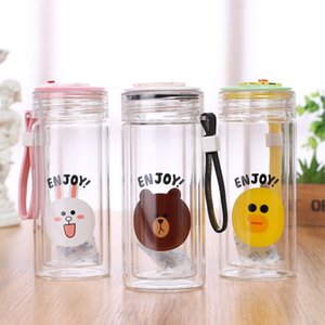 Creative Cartoon Double Layer High Borosilicate Glass Student Gift Water Cup General Merchandise