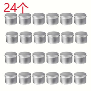 24 Pack Round Metal Tins Box Candela Tin Tin Nero Aluminium Jar Storage Vuoto Pentola Pianurale Pianura Crema Cosmetica Contenitore