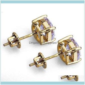 Back Findings & Components Jewelry8Mm Hip Hop Stud Earrings Sier Gold Plated Cz Earring Mens Womens Earing Ear Ring Women Men Designer Earin