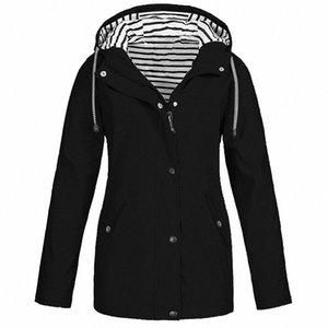 Women Solid Rain Jacket Outdoor Plus Size Waterproof Hooded Raincoat Windproof New Warm Jacket Windproof Outdoor Chaqueta #GM 09ev#