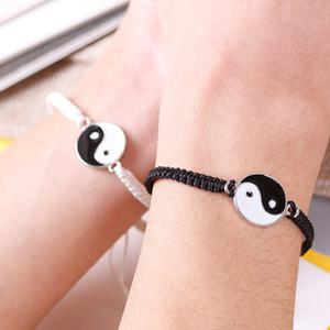 Amizade casal corda pulseira yin yang tai vintage branco preto ajustável corda pulseira handmade jóias