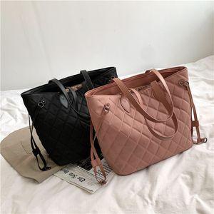 2020 new women's embroidery line rhombic lattice Korean Nylon Shoulder fashion high capacity Tote bag