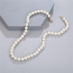 Girocchi Elegante Bianco Imitazione Perla Collana Lungo Round Chad Choker per le donne Charm Moda Gioielli