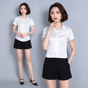 2021 New Shirt Women's Summer Korean Green White Blouse Spring Office Shirts Fashion Womens Tops and Blouses 7564 Kj2122 9hfx