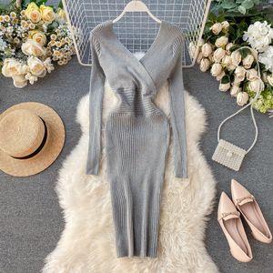 2021 Women Fashion Sweater New Spring Autumn Long Sleeve Sexy v Neck Slim Bodycon Es Ladies Pencil Short Robe Zzix