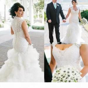 Vintage Mermaid Wedding Dresses Portrait Neckline Lace Applique Ruffles Custom Made Sweep Train Country Wedding Bridal Gown vestido de novia
