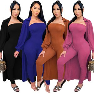 hot selling Womens jumpsuit+coat two piece set tracksuit long sleeve jacket+rompers sexy jumpsuit women clothing S-XL