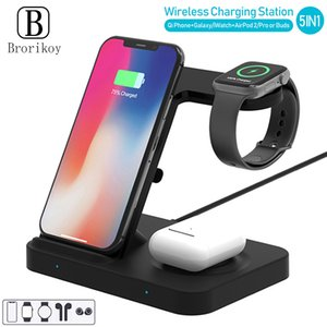 Qi Wireless Charger Dock Station for Samsung Galaxy Buds Gear S3 Sport Wireless Charging Stand for iPhone Airpods Pro Watch 5 4 X0124