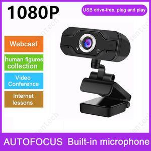 Webcam HD 1080p com câmera de computador sem motorista usb microfone para transmissão ao vivo Chamada de vídeo de conferência para laptop de PC