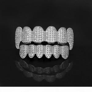 Bling 6 Teeth Grills Set Gold & Silver Plated Cubic Zirconia CZ Top & Bottom Dental Grills Cap For women men Hip hop Body Jewelry