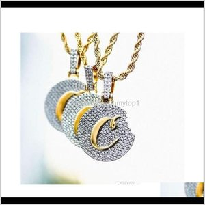 18K Gold Plaated Cookies Pendant Necklace Iced Out Cubic Zircon Mens Hip Hop Bling Jllytu 2L7Fo Rjxin