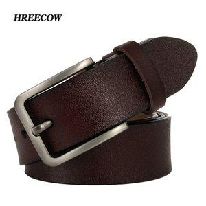 Hreecow мужская ремень пояса коровы натуральная кожа роскошный ремешок мужские ремни для мужчин Новая мода классический винтажный штырь пряжки Dropshipping