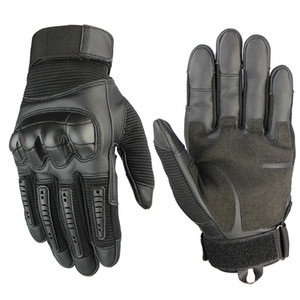 Army Tactical Gloves PU Leather Long Full Finger Glove Rubber Knuckle Paintball Shooting Airsoft Touch Screen Men Gloves