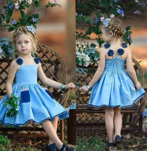 Summer Pleated Suspender Dress for Kids Girls Sleeveless Princess Dresses Designers Denim Blue Skirt with Pocket 80-120cm Clothes H230W96