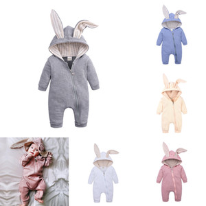 Toddler Baby Rompers Newborn Infant Rabbit Ears Bunny Hat Jumpsuit Romper Spring Breathable Knitted Zipper One Piece Pants Onesies H23ENAV