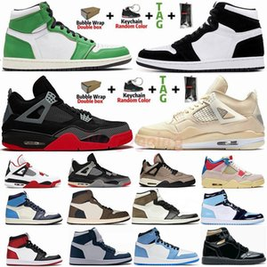 Taglia 36-47 Con scatola New White Sail X Bred Black Cat 4 4s Scarpe da basket Jumpman 1 1s Dark Mocha Travis Scotts Lucky Green Twist Panda Sneakers da uomo Scarpe da ginnastica