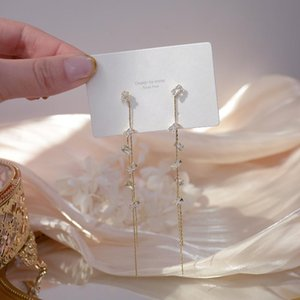 Luxury Cubic Zircon CZ Crystal Long Tassel Stud Earrings for Women Japanese&Korea New Style 14K Real Gold Earrings