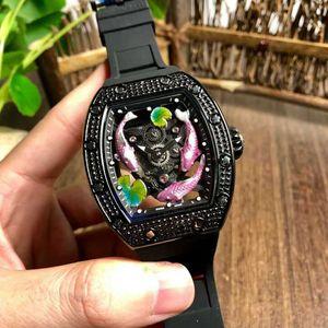 Top RM57-01 Tonneau Diamond Riamone Roaduous Watch Swiss автоматические механические спортивные часы 28800 VPH 3D Outdoorworked Dial Cars Super