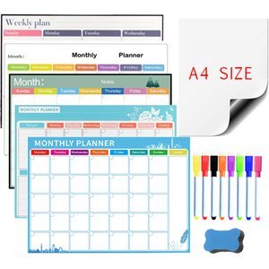 Magnetic Whiteboard Weekly Monthly Planner Calendar Dry Erase Fridge Board Message Memo Writing Drawing Kids Board Wall Stickers 210312