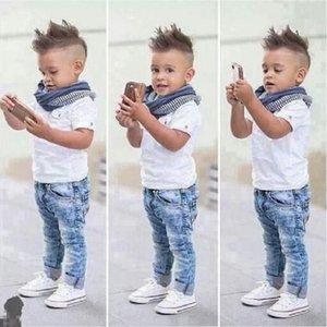 Baby Boy Ropa T-shirt casual + bufanda + jeans 3pc ropa de bebé conjunto verano niño niños disfraz para niños pequeños niños ropa 130 q2