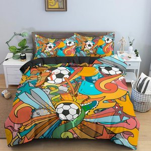 Bedding Sets Color Painting Abstract Football Cartoon Game Christmas Duvet Cover Beds Set King Bed Linen Euro Size