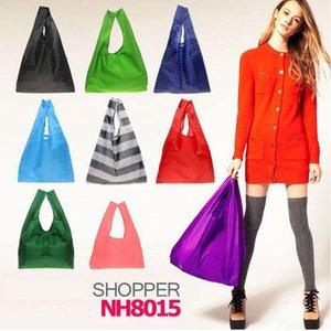 Bolsa de armazenamento eco amigável dobrável sacos de compras utilizáveis poliéster reutilizável mercearia portátil nylon grande saco puro cor 1 79dg bb