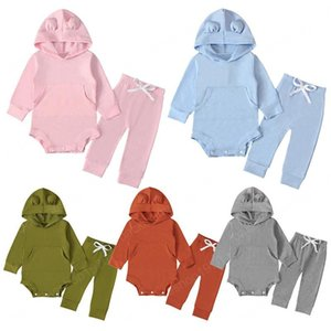 kids clothes Girls boys Solid color outfits infant Hooded romper Tops+pants 2pcs sets 2021 Spring Autumn baby Clothing Sets