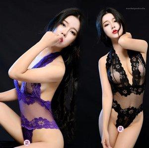 Deep V Col Sexy Lingerie Femme Dentelle Creux Creux Oneies Femmes Vêtements Vêtements Gauze Perspective Vêtements de nuit 2021 Nouveautés Arrivées