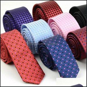 Aessories5Cm Width Mens Ties Fashion Plaid Neckties Corbatas Gravata Jacquard Woven Slim Business Wedding Stripe Neck Tie For Men Drop Deliv