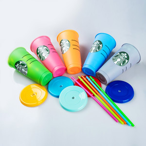 24oz Tumblers Plastic Drinking Juice Cup With Lip And Straw Magic Coffee Mug Starbucks plastic Transparent cup DHL Shipping FY24