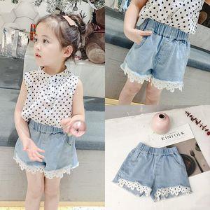 Wholesale New Korean INS Kids Girls lace Denim Shorts Unisex Girls Spring Summer Princess Lace Jeans Shorts Pants for 2-8T