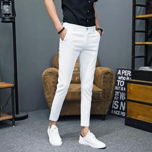 Herrenanzüge Hosen Slim Solide Farbe Einfache Mode Social Business Casual Büro Männer Kleid Haube Frühling und Sommer