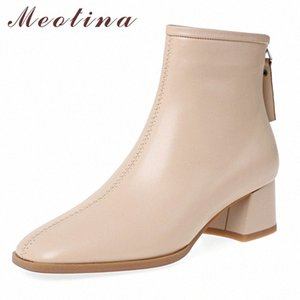 Meotina Kış Ayak Bileği Çizmeler Kadın Doğal Hakiki Deri Kalın Topuklu Kısa Çizmeler Fermuar Kare Toe Ayakkabı Kadın Güz Boyutu 33 40 Bootie 24Jo #