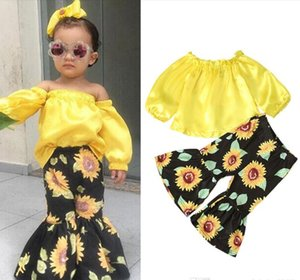 Kids clothes girls outfits children Strapless shoulder Tops+sunflower Flare pants 2pcs set Spring Autumn baby Clothing Sets