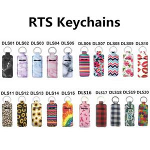 20 Style Print Marble Color Neoprene Chapstick Holder Handy Lip Balm Keychains Neoprene Lipstick Holder Keychain Pouch GWC6234