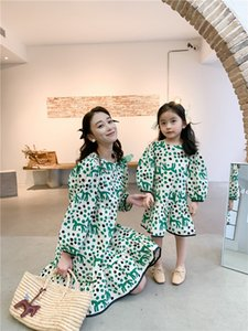 Madre e hija pony estancio vestido de estilo fresco niñas de hojamoteos de manga larga vestido de falbala mami y yo vestido a máquina A6081
