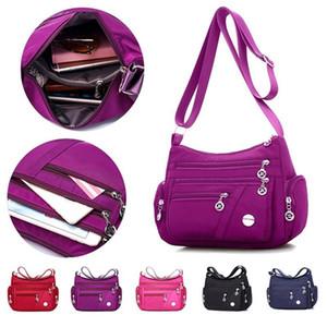 Women Handbags Messenger Bag Washed Nylon Lightweight Waterproof Shoulder Bags Fashion Zipper Crossbody Bag Purse Collect Wallet C0224
