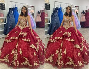 Gorgeous Gold Embroidery Burgundy 2022 Ball Gown Quinceanera Dresses Sweetheart Pearls Beaded Applique Tulle Sweet 15 16 Charra Prom Evening Formal Party Dress