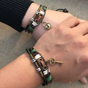 2pcs Couples Bracelet Lovers Braclet His & Hers Lock And Key Friendship Newest