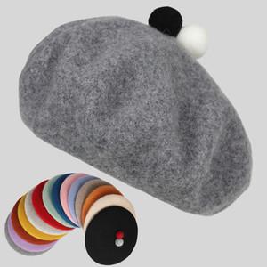 Hat Female Beret Autumn and Winter Net Red Same Woolen Cloth Pumpkin Versatile Bud Children's