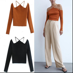 Za 2021 Sexy Off Shoulders Knit Top Women Cut Out Shoulders Straps Long Sleeve Knitted Shirt Fashion Backless Woman Tops