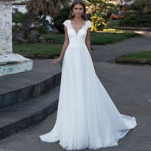 New Fashion Lace Wedding Dress 2021 robe de mariee Sexy V Neck A Line Wedding Gowns Custom Made Open Back Bridal Dresses