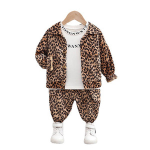 Spring 0-4Y Baby Clothes Leopard Boys Tracksuit Infant Sweat Suit Coat+T Shirt+Trousers 3Pcs Set SM008