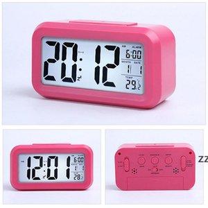 Smart Sensor Nightlight Digital Alarm Clock with Temperature Thermometer Calendar Silent Desk Table Clock Bedside Wake Up HWB10329