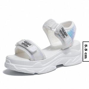 Fujin Sommer Frauen Sandalen Schnalle Design Schwarz Weiß Plattform Sandalen Komfortable Frauen Dicke Sohle Strandschuhe Herren Müßiggänger Formale Sho M3lw #
