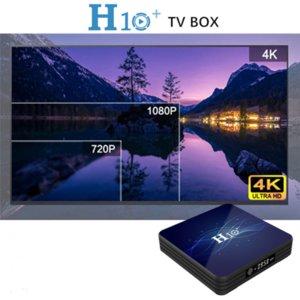 Android 9.0 H10 + Smart TV Box Dual Band Bluetooth 4.0 2 + 16G Установите верхние ящики Светодиодные дисплеи WiFi 4K медиаплеер бесплатный корабль